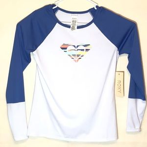 Roxy rash guard blue and white loose fit size M